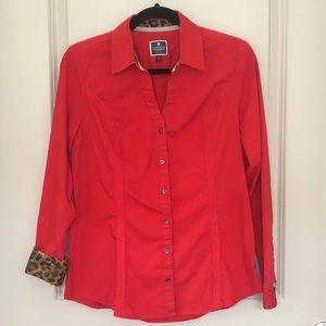 Express red women shirt animal print end.